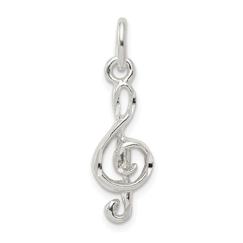 22MM Treble Clef Music Note Charm - Sterling Silver