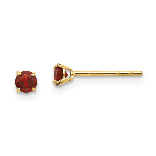 "3MM Garnet ""January"" Stud Earrings with Push-on Silicone Backs - 14K Yellow Gold"
