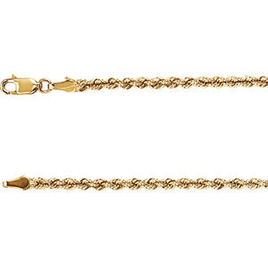 "3MM Rope Chain (Available in 12"", 14"", 16"" and 18"") - 14K Yellow Gold"