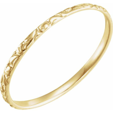 1MM Etched Ring Size 3 - 14K Yellow Gold (Also available in 14K White or 14K Rose Gold)