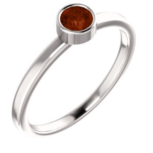 "4MM Mozambique Garnet ""January"" 4MM Ring (Available in sizes 6-7) - 14K White Gold"
