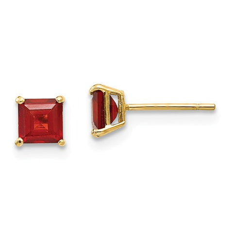 "4MM Garnet ""January"" Stud Earrings with Push-on Backs - 14K Yellow Gold"
