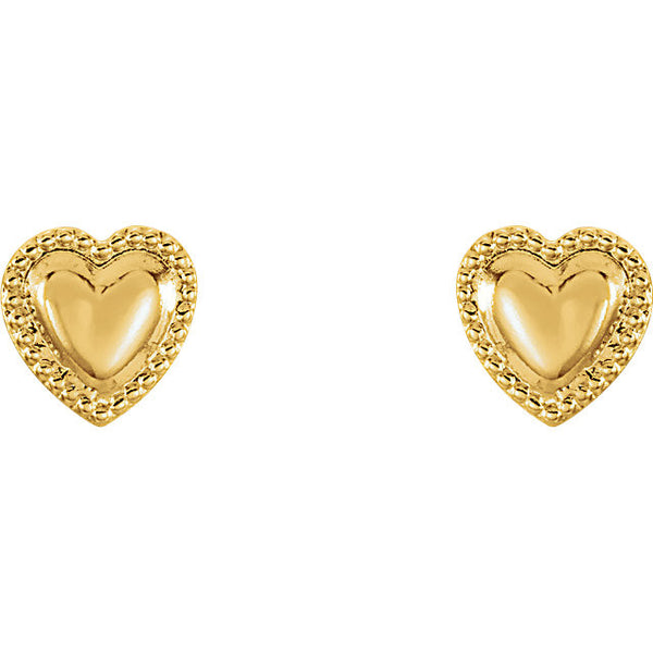 4MM Bordered Heart Earrings - 14K Yellow Gold