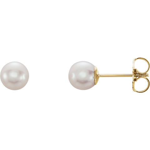 5MM Pearl Earrings - 14K Yellow Gold