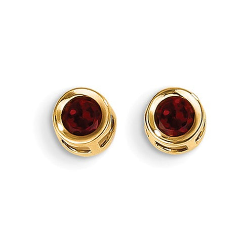 "5MM Round Garnet ""January"" Earrings with Push-on Backs - 14K Yellow Gold"