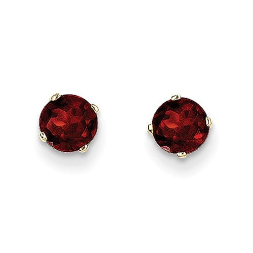 "5MM Round Garnet ""January"" Stud Earrings with Push-on Backs - 14K Yellow Gold"