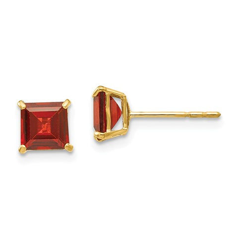 "5MM Garnet ""January"" Stud Earrings with Push-on Backs - 14K Yellow Gold"
