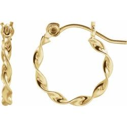 12MM Twisted Hoop Earrings - 14K Yellow Gold