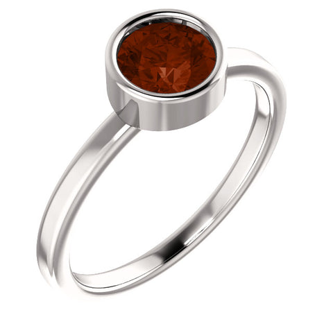 "6MM Garnet ""January"" Ring (Available in sizes 6-7) - 14K White Gold"