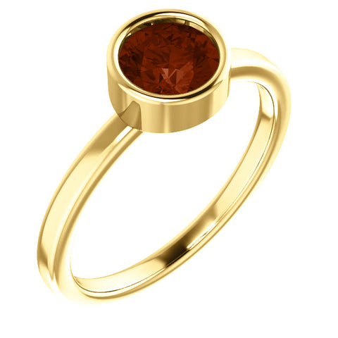 "6MM Garnet ""January"" Ring (Available in sizes 6-7) - 14K Yellow Gold"