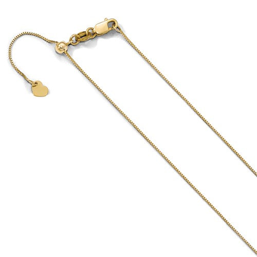 "0.7MM Adjustable Box Chain (Adjusts up to 22"") - 10K Yellow Gold"
