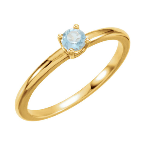 "3MM Aquamarine ""March"" Ring Size 3 - 14K Yellow Gold"