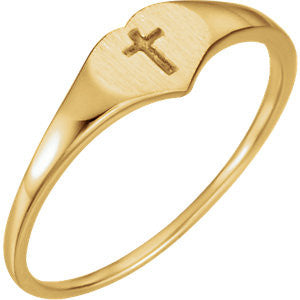 Heart Cross Ring Size 3 - 14K Yellow Gold