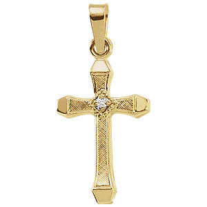 17MM Diamond Cross Charm - 14K Yellow Gold