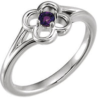 "2.5MM Amethyst ""February"" Flower Ring Size 3 - 14K White Gold"