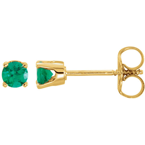 "3MM Emerald ""May"" Stud Earrings - 14K Yellow Gold"