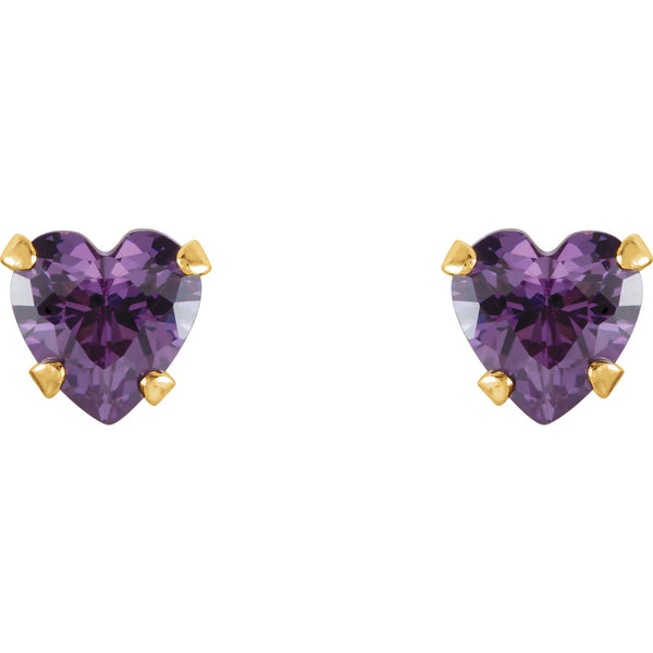 4MM Heart Amethyst Stud Earrings - 14K Yellow Gold