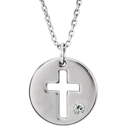 "12MM Aquamarine ""March"" Round Cross Charm on 18"" Adjustable Chain - 14K White Gold"