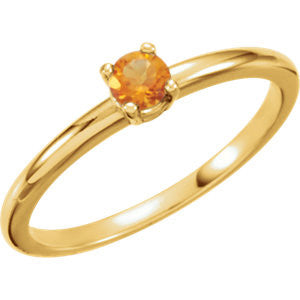 "3MM Citrine ""November"" Ring Size 3 - 14K Yellow Gold"