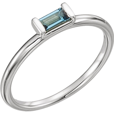 "5MM London Blue Topaz ""December"" Ring (Available in sizes 6-7) - Sterling Silver"