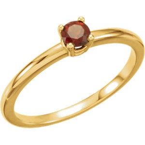 "3MM Mozambique Garnet ""January"" Ring Size 3 - 14K Yellow or White Gold"
