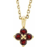 "9.5MM Garnet ""January"" Necklace - 14K Yellow Gold"