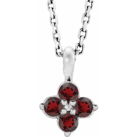 "9.5MM Garnet ""January"" Necklace - 14K White Gold"
