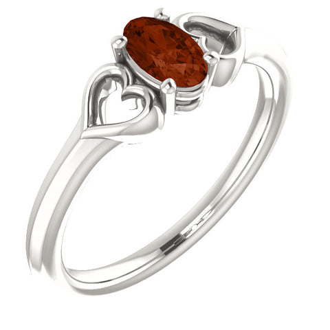 "5MM Mozambique Garnet ""January"" Hearts Ring Size 3 - Sterling Silver"