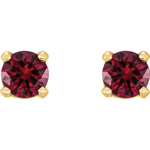 "3MM Mozambique Garnet ""January"" Stud Screw Back Earrings - 14K Yellow Gold"