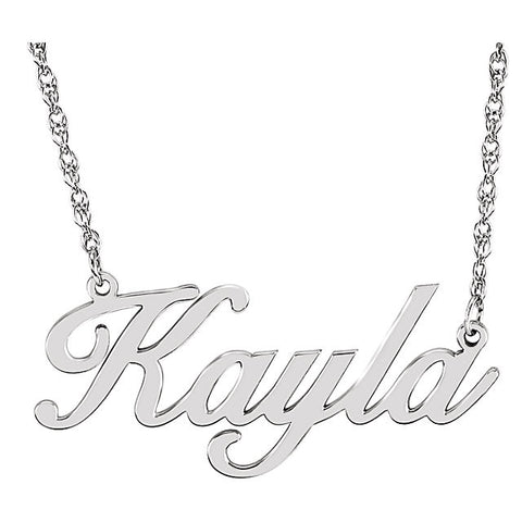 "32x14MM Script Nameplate on 16"" Chain - Sterling Silver"