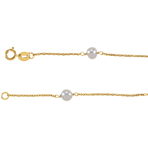 Girl's Gold & Pearl Bracelet 14K Gold