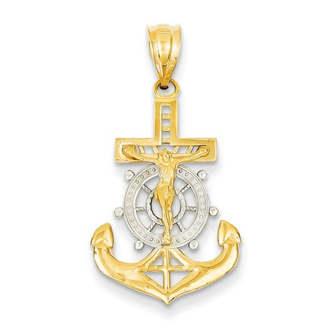 30MM Mariners Cross Charm - 14K Yellow and 14K White Gold