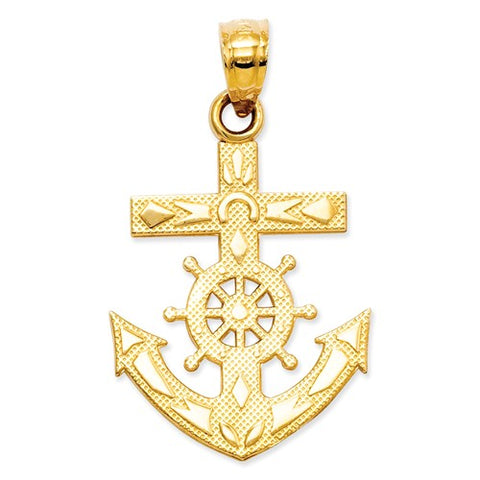 25MM Mariners Cross Charm - 14K Yellow Gold