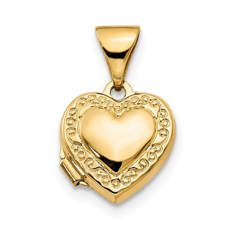 15MM Bordered Heart Locket Charm- 14K Yellow Gold