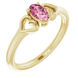 "5MM Oval Tourmaline ""October"" Hearts Ring Size 3 - 14K Rose Gold"