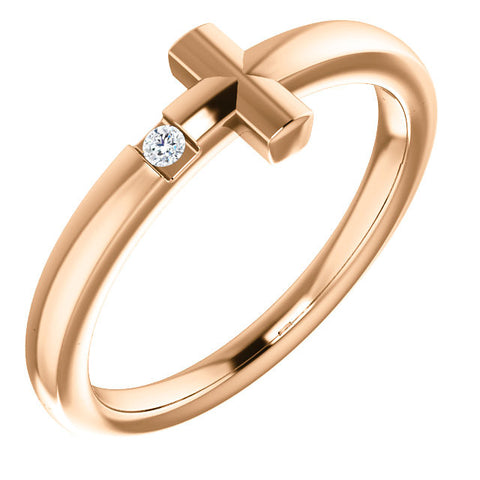 Child's Sideways Cross Diamond Ring 14K Gold