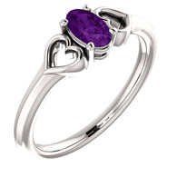 "5MM Oval Amethyst ""February"" Hearts Ring Size 3 - 14K White Gold"