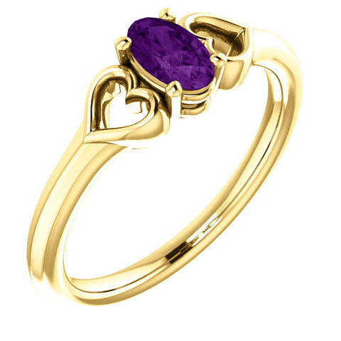 "5MM Oval Amethyst ""February"" Hearts Ring Size 3 - 14K Yellow Gold"