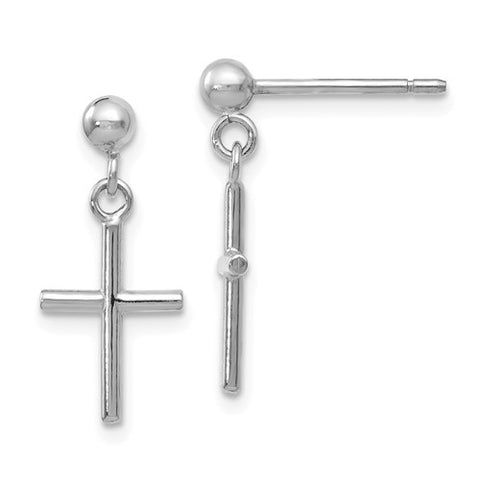 16MM Cross Dangle Earrings - 14K White Gold