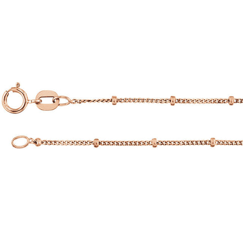 "1MM Beaded Chain (Available in 14"" or 16"") - 14K Rose Gold"