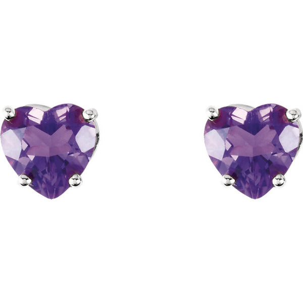5MM Heart Amethyst Earrings - 14K White Gold