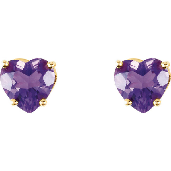 5MM Heart Amethyst Earrings - 14K Yellow Gold