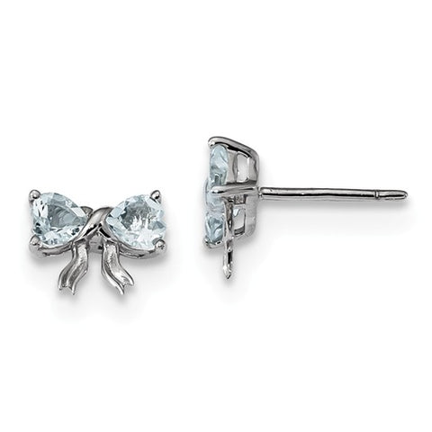 "8MM Aquamarine ""March"" Bow Earrings - Sterling Silver"