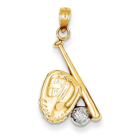 21MM Baseball Bat & Ball Charm - 14K Yellow and White Gold