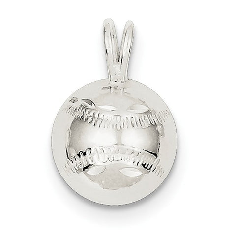 13MM Baseball Charm - Sterling Silver