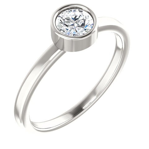 5MM White Sapphire Ring (Available in sizes 6-7) - Sterling Silver