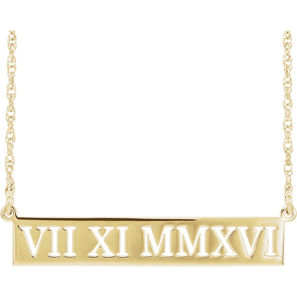 "38x7MM Roman Numeral Necklace 16"" - 14K Yellow Gold"