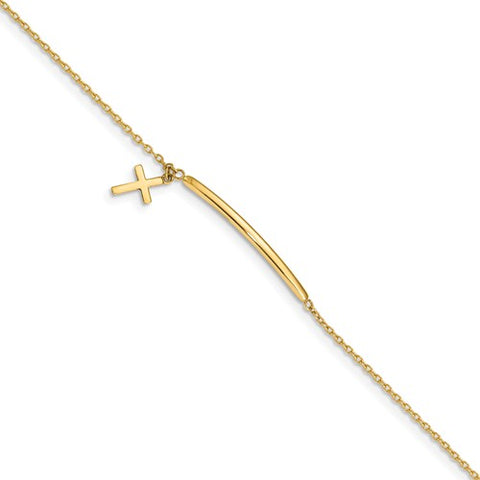"5.5"" Cross Charm Bracelet with .5"" Extender - 14K Yellow Gold"