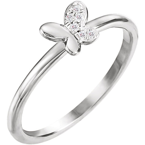 .02 CTW Diamond Butterfly Ring (Available in sizes 3-5) - Sterling Silver