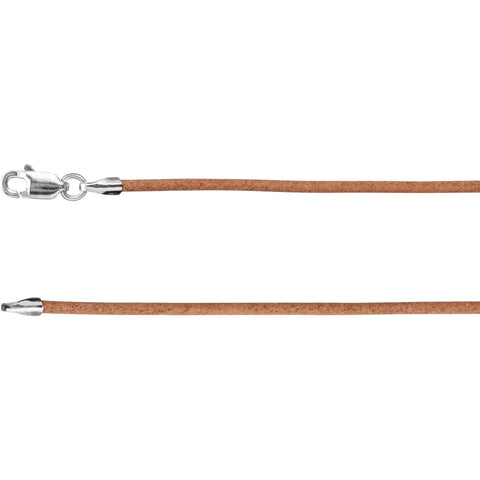 "1.5MM Natural Leather Cord Chain (Available in 16"", 18"" and 20"") - Sterling Silver"